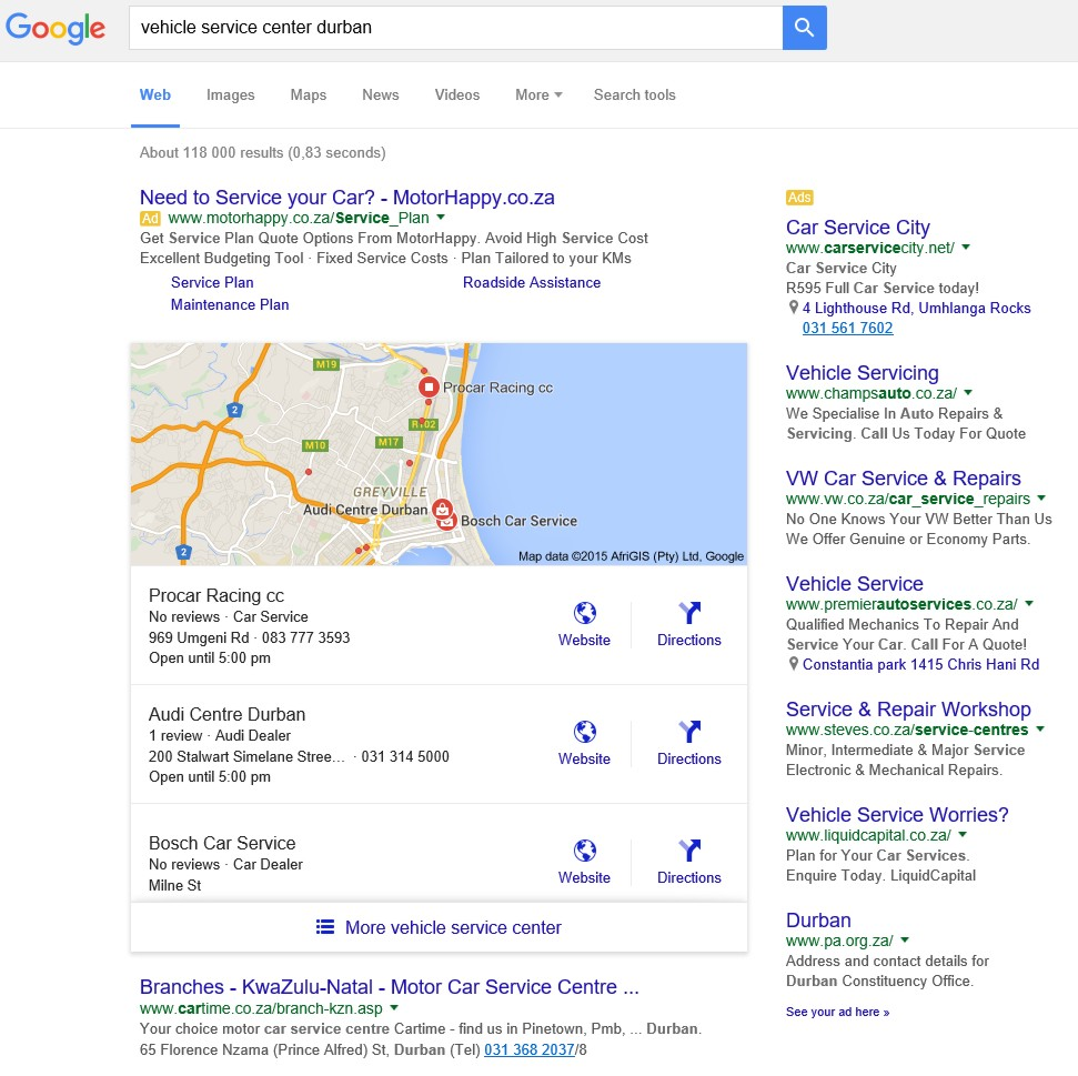 "Google search results for ""vehicle service center durban"""
